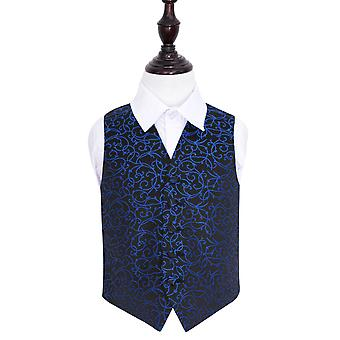 Boy's Black & Blue Swirl Patterned Wedding Waistcoat