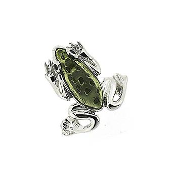 Fine Enamels Sterling Silver and Green Enamel Frog Lapel Pin