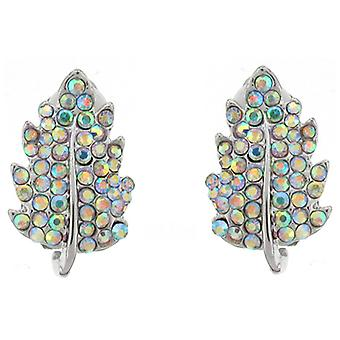 Clip On Earrings Store AB Crystal Leaf Clip On Earrings