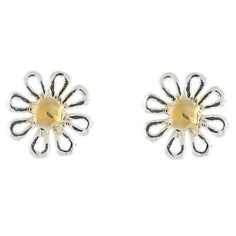 Petite Silver and Gold Camomile Daisy Flower Stud Earrings