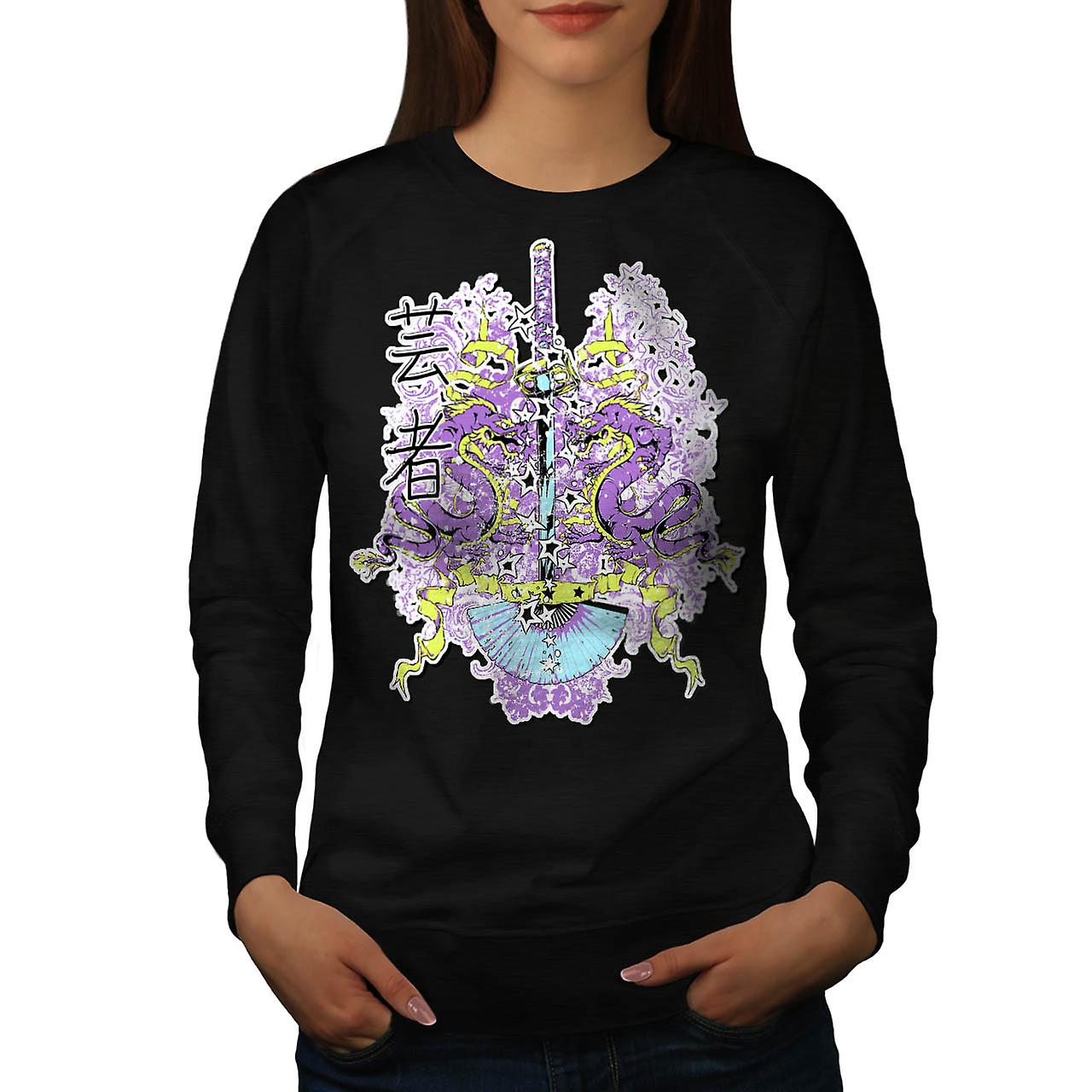 Chinese Dragon Sword Battle Myth Women Black Sweatshirt | Wellcoda