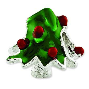 Sterling Silver Reflections Enameled Christmas Tree Bead Charm