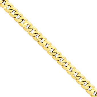 14 k gule gull Solid polert hummer Claw nedleggelse 10mm skrå dempe kjeden Anklet - 9 tommer - hummer klo