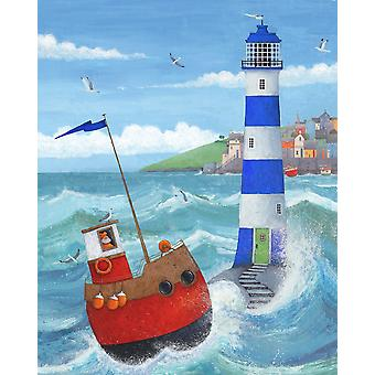 Blue Lighthouse Poster Print by Peter Adderley
