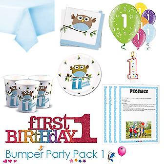 Little Owl Boy 1st Birthday Party Tableware Bumper Pack 1