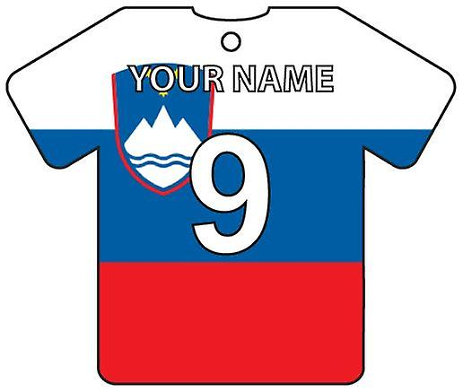 Personalised Slovenia Flag Jersey Car Air Freshener