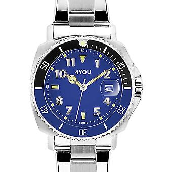 4YOU Herre ur wrist watch analog quartz rustfrit stål 250006001