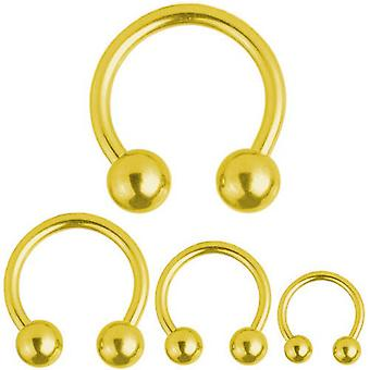 Circular Barbell Horseshoe Gold Plated Titanium Piercing 1,2 mm | Diameter 6-12