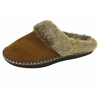 New Ladies COOLERS Brand Slip on Mule Slippers MICROSUEDE Warm Fluffy Lined 283