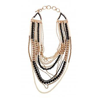 W.A.T Gold Style Long Layered Black And White  Beaded Necklace