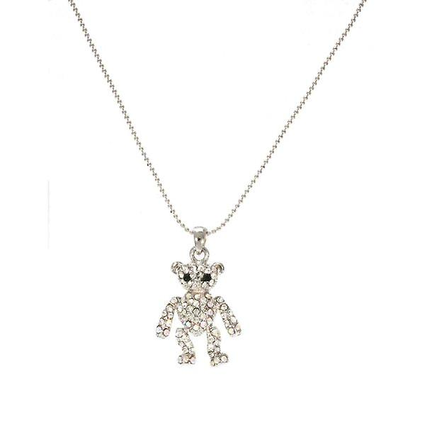 W.A.T Sparkling Crystal Teddy Bear Necklace