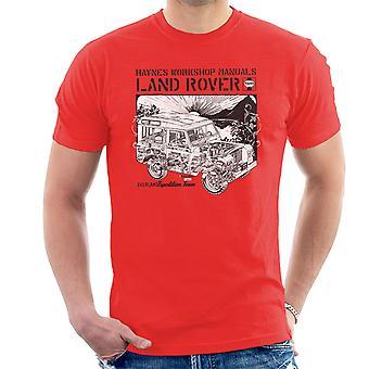 Haynes Owners Workshop Manual Land Rover zonsondergang zwart T-Shirt voor mannen