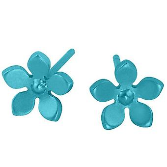 Ti2 Titanium 8mm Five Petal Stud Earrings - Kingfisher Blue