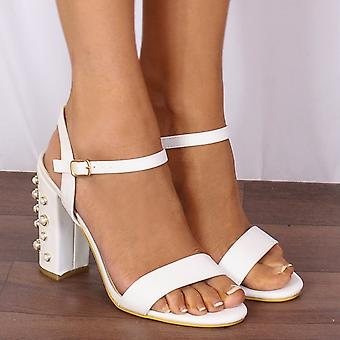 Shoe Closet Ladies DB91 White Pearl Barely There Strappy Sandals Peep Toes High Heels