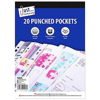 Just Stationery 20 A4 Clear Plastic Punched Pockets