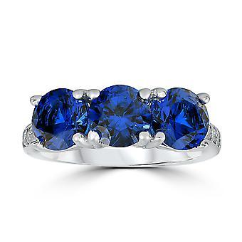 3 3 / 4ct diamant & syntetisk blå safir Ring 10K vitt guld 3-Stone