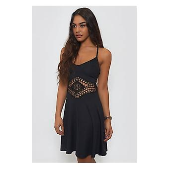 The Fashion Bible Bohemian Black Crochet Skater Dress