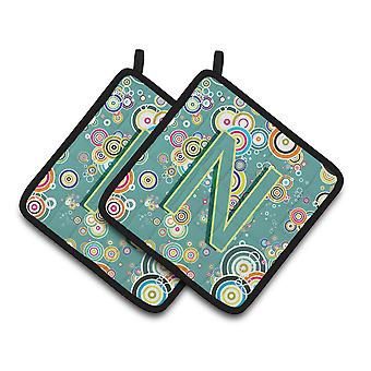 Litera N koło Teal alfabet początkowej koło pary łapki
