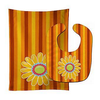 Carolines schatten BB9053STBU hart bloem oranje #2 Baby Slabbetje & Burp doek
