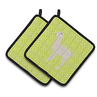 Carolines Treasures  BB7745PTHD Alpaca Green Pair of Pot Holders