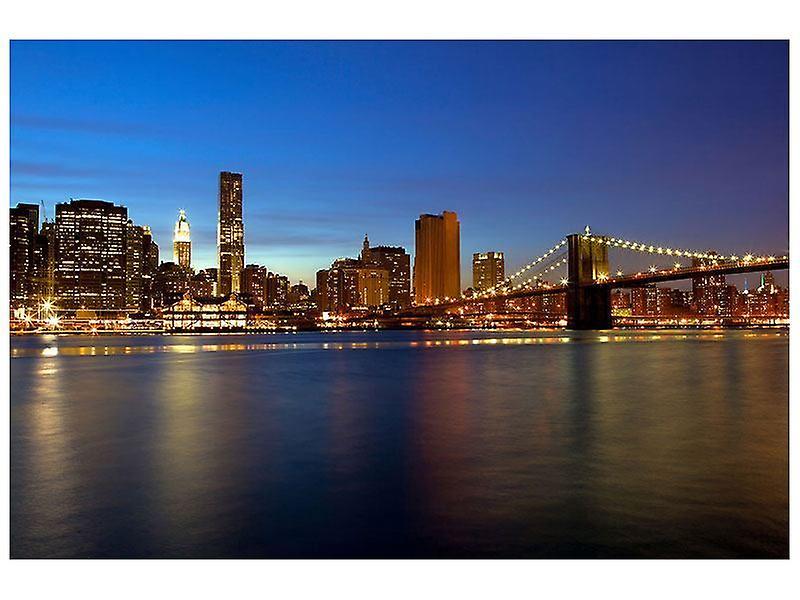 Lærred Print Skyline Manhattan i havet lys