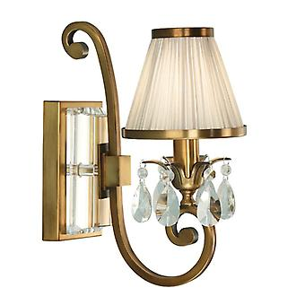 Oksana Antique Brass Single Wall Light With Beige Shade - Interiors 1900 63538