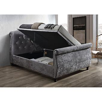 Birlea Toulouse Double Ottoman In Steel Crushed Velvet