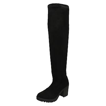 Ladies Spot On Knee High Boots