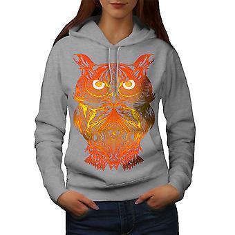 Night Owl auf Feuer Frauen GreyHoodie | Wellcoda