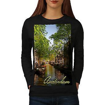 Canal Tree Amsterdam Women BlackLong Sleeve T-shirt | Wellcoda