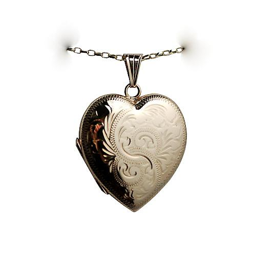 9ct Gold 30x28mm hand engraved heart shaped Locket with a belcher Chain 18 inches