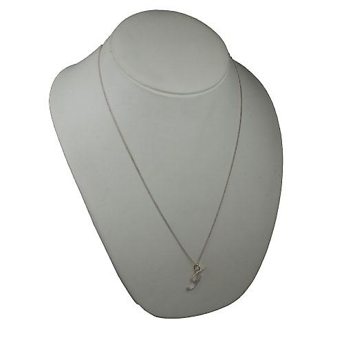 Silver 28x11mm plain Initial F Pendant with a curb Chain 24 inches
