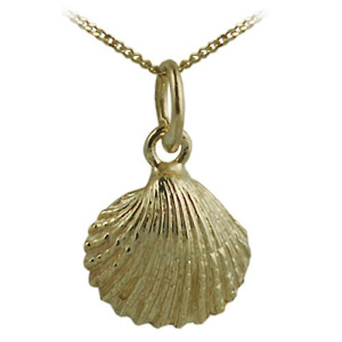 9ct Gold 9x11mm Sea shell Pendant with a curb Chain 16 inches Only Suitable for Children