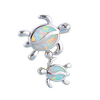 Female turtles plated silver pendant and Opal