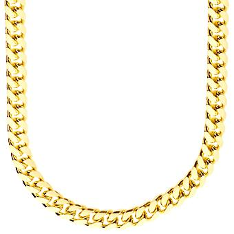 Sterling 925 Silver curb chain - MIAMI CUBAN 7 mm gold