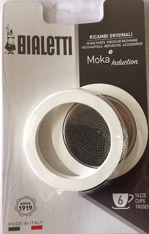 Bialetti - 3 Spare Gaskets & Filter Plate for Moka Induction Coffee Maker 6 Cup