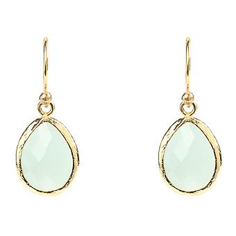 Gemstone Small Earrings Dangle Drop 925 Silver Gold Green Aqua Chalcedony Hook
