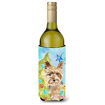 Árbol de Navidad Yorkie Yorkshire Terrier botella de vino Beverge aislador Hugger