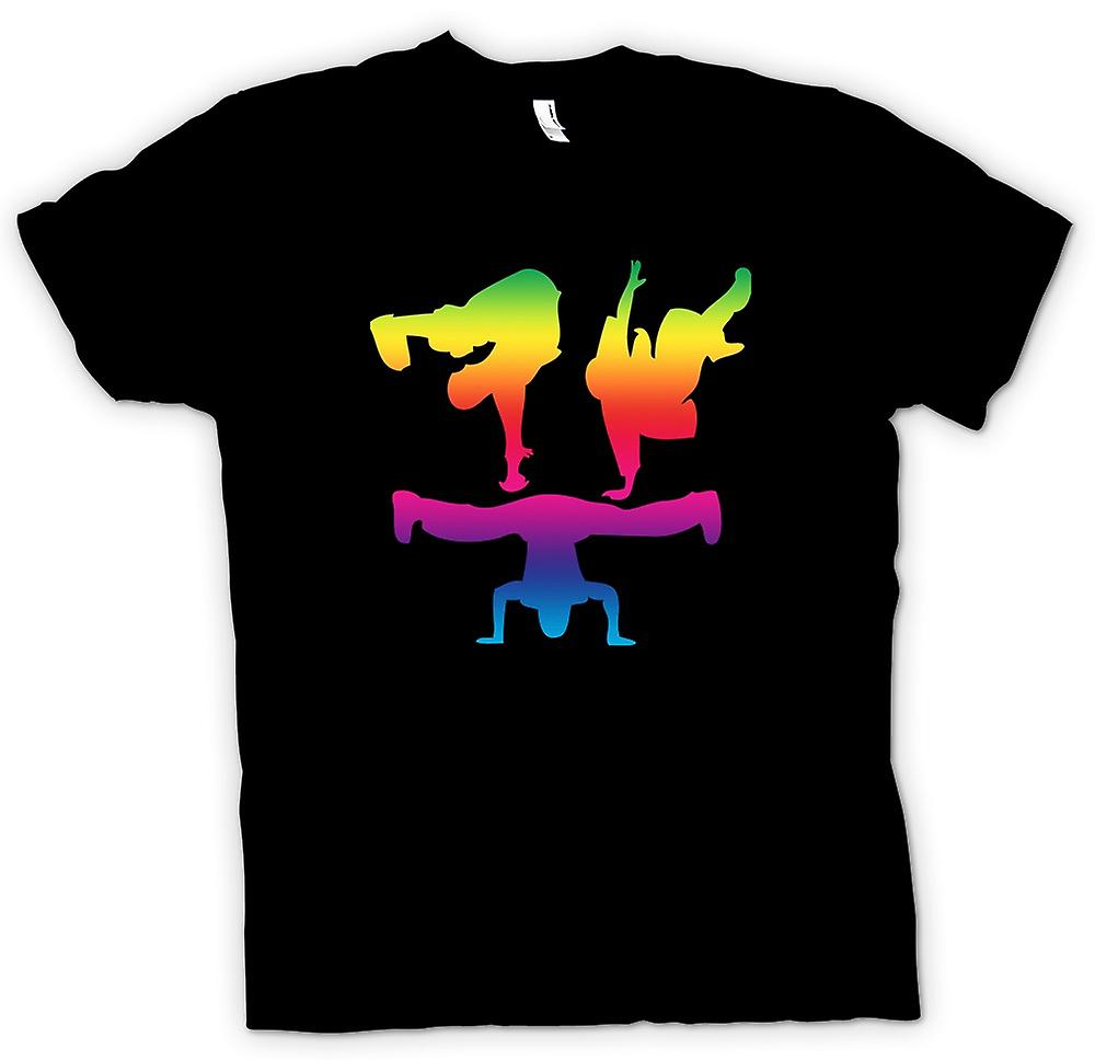 Mens T-shirt - Break Dance Moves - Rainbow