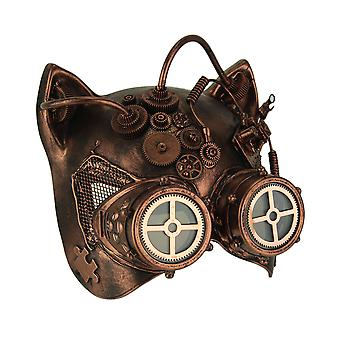 Copper Robot Kitty Steampunk Cat Face Costume Mask