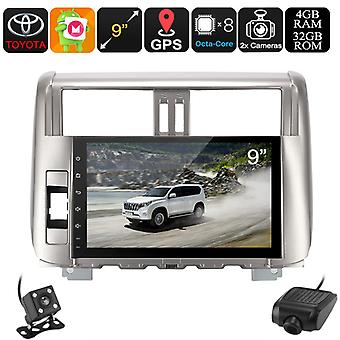 1 DIN Car Stereo - For Land Cruiser Prado, Car DVR, Rear View Camera, GPS, Android 8.0, WiFi, 3G, 9-Inch Display, Bluetooth