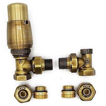Elegant Straight/Angled Antique Brass Thermostatic Lockshield Valve Radiator Set