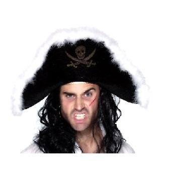 Pirate Hat - Svart Velour med Marabou (antal 1)