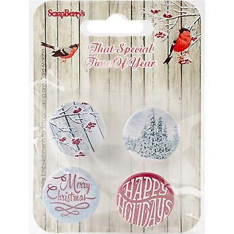 Scrapberry's That Special Time Of Year Embellishments 4/Pkg-No.1-1