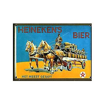 Heineken caballos y carro de Metal postal / mini-signo
