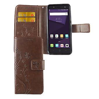 Protective cover flowers for mobile ZTE blade V8 Lite coffee