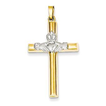 14k tvåfärgad ihåliga platt tillbaka polerad tillbaka guld Claddagh kors hänge - åtgärder 21.9x40.3mm