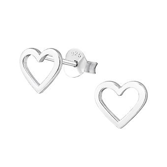 Empty Heart - 925 Sterling Silver Plain Ear Studs - W37250x