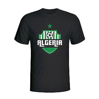الجزائر بلد شعار تي شيرت (أسود)