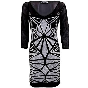 Ladies V neck 3/4 Mesh Sleeve White Silver Beaded Pattern Ladies Bodycon Dress